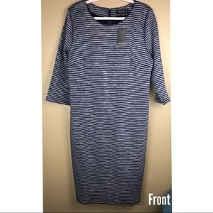 NWT ELLOQUII | Striped Gray Blue Striped Dress
